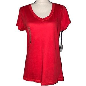 U.S. POLO ASSN. red V-neck large ladies top